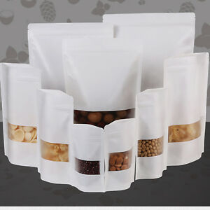White Kraft Paper Stand Up Zip Lock Bag W Clear Window Food Storage Resealable