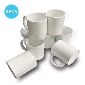8 Pcs Mugs 11 Oz Sublimation Mugs Blank White Mugs Coated Ceramic Cups Christmas
