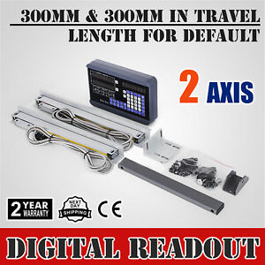 2 Axis Digital Readout Dro 2 300mm Linear Scale Milling Drilling Grinding Usa
