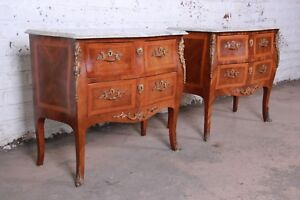 Louis Xv Style Inlaid Mahogany Marble Top Nightstands Or Commodes Pair