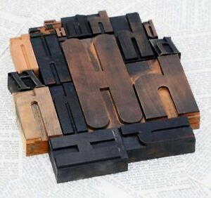 Hhhhh Mixed Set Of Letterpress Wood Printing Blocks Type Woodtype Wooden Printer