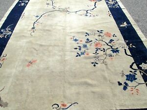 Selling At Cost Antique Chinese Ivory Ground Oriental Rug 9 X 12 Room Size