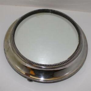 Antique Silver Plate English Signed Plateau With Mirror 13 Inches