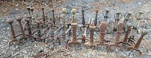 12 Pair Lot Antique Vtg Andirons Cast Iron Brass Mission Arts Crafts Style Metal
