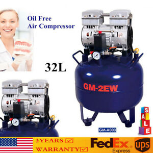 New 32l Dental Medical Silent Noiseless Oilless Air Compressor Oil Free Usa