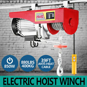 880lbs Electric Hoist Winch Lifting Engine Crane Pulley Overhead Garage Great