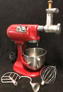 Vintage Hobart N50 5 Qt Countertop Mixer W ss Bowl whisk paddle hook