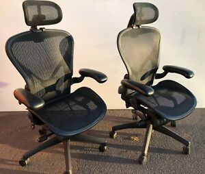 Herman Miller Aeron Chairs With Aeronhq Headrests size B