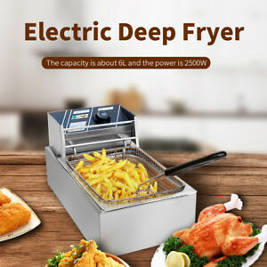 2500w Deep Fryer Electric Countertop Single Basket French Fry Restaurant Bar 6l