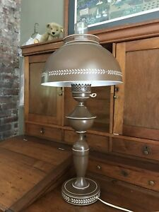 Extra Large Brown Vintage Metal Tole Ware Desk Table Lamp Nice Condition