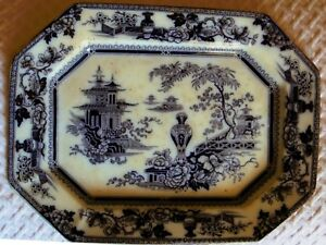 Flow Mulberry Jeddo Pattern English Ironstone Platter Adams 1840s