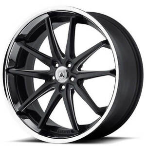 22 Staggered Asanti Wheels Abl 5 Matte Black Milled With Ss Lip Rims