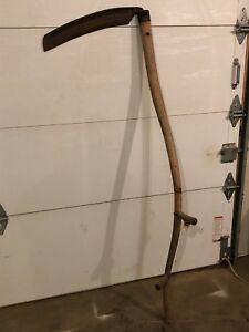 Old Antique Large Primitive Antique Scythe Halloween Prop Grim Reaper Farm C