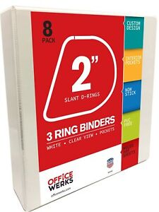 3 Ring Binders 2 Inch Slant d Rings White 8 Pack Clear View Pockets