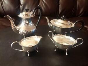 Antique Sheffield England Cheltenham Silver Plate Classic 4 Pc Coffee Tea Set