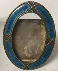 Antique Silverplate With Blue Enamel Small Picture Frame Photograph