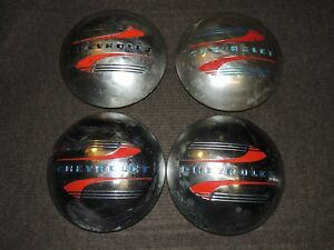 Set Of 4 Vintage Chevrolet Hubcaps Dog Dish Baby Moon