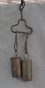 Set Of 2 Hand Made Bells Antique Primitive Cow Bells On Metal Yoke