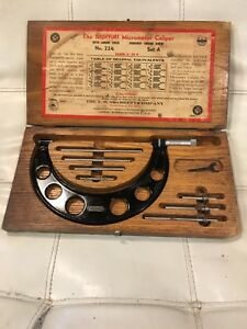 Vintage L s Starrett Outside Micrometer Caliper No 224 Set A 2 6 Range