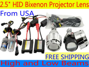 2 5 Mini H1 H4 H7 Hid Bi Xenon Projector Lens Headlight Retrofit Kit W Shround