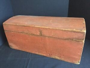 Antique Primitive Red Painted Wooden Dome Top Trunk Chest