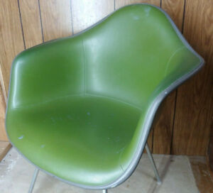 Vintage Mcm Herman Miller Eames Fiberglass Arm Shell Chair Green Free Shipping
