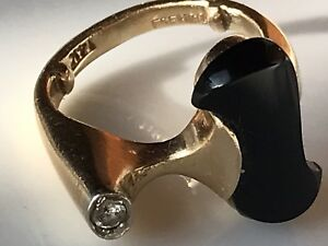 Vtg 14k Gold Diamond Abstract Brutalist Cocktail Ring 6gr Small Sz 2 75 Very Mcm