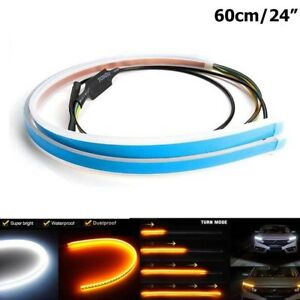 2x60cm Slim Car Flexible Switchback Led Strip Drl Light Headlight Sequential