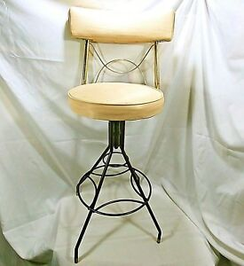 Mid Century Modern Chair Vanity Swivel Bar Stool Bathroom Tan And Gold Metal