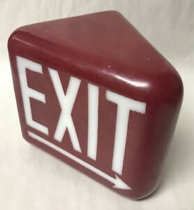 Vtg Glass Globe only Triangle 2 Sided Exit Light Sign Red W white Letters Arrow