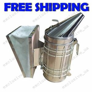Galvanized Steel Manual Bee Hive Smoker Transmitter Apiculture Beekeeping Tool