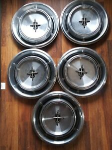 Vintage 1970 72 Lincoln Continental Hub Cap Hubcap Wheel Cover Set Lot Of 5