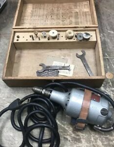 Vintage Dumore Model 8066 Duplex Grinder With Wood Box And Grinding Attachments