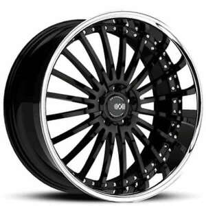 22 Staggered Xo Wheels X130 New York Gloss Black With Ss Lip Rims