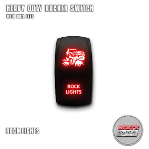 Red Laser Led Rocker Switch 5pin Dual Light 20a On Off For Jeep Rock Lights