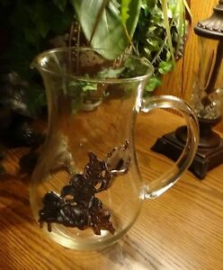 Vintage Glass Pitcher With Silver Applied Flower On Side