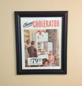 Coolerator Refrigerator Framed Advertisement 1936 Original Fun Kitchen Art