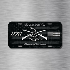 Land Of Free Brave 1776 Usa Us Flag Patriot Vehicle License Plate Auto Car Tag