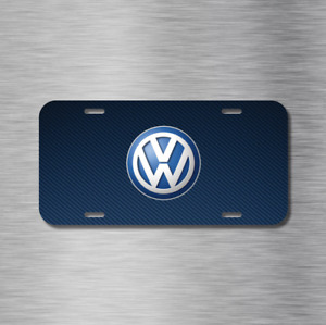 Vw Volkswagen Simulated Carbon Euro Blue Vehicle License Plate Auto Car Tag