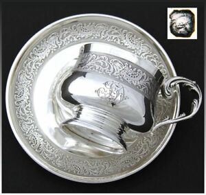 Antique French Sterling Silver Tea Cup Saucer Set Ornate Frieze Style Bands