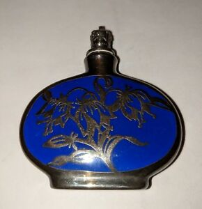 U S Zone Germany Blue Porcelain Glass Scent Bottle With Sterling Silver Overlay