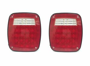 2pcs Truck Tail Lights Universal Square 12v 38 Led Signal For Boat Jeep Suv Rv