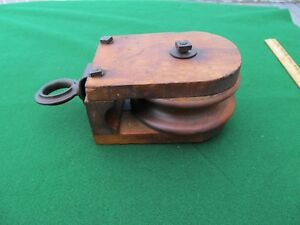 Antique Farm Barn Rope Starline Wood Pulley Early Square Nut Bolts Nice