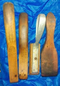 Lot Of 4 Vintage Wooden Auto Body Shaper Working Tool Hand Soldering Paddles