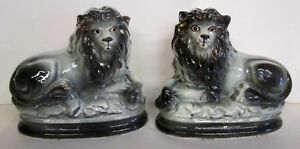 Pair Of Antique Vintage Staffordshire Type Lions W Glass Eyesestate Sale