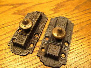Pair Matching Old Eastlake Sliding Cupboard Door Latch Latches Lock Ornate