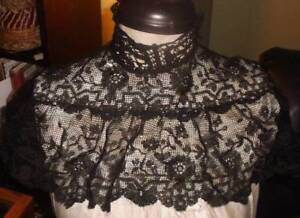 Antique Black Chantilly Lace High Neck Lace Collar 1900 S Era Orig Hooks Eyes
