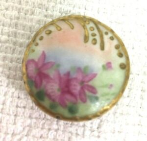 Antique Hand Painted China Button Buttons Single Rose Stud 3 4
