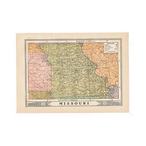 Vintage Map Of Missouri From 1902 Disbound Book The University Encyclopedia