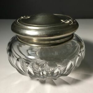 Antique William B Kerr Co Vanity Jar With Art Nouveau Sterling Silver Lid